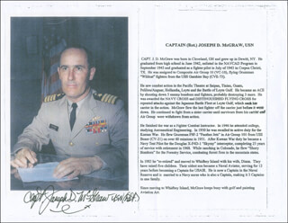 CAPTAIN JOSEPH D. MCGRAW - BIOGRAPHY SIGNED