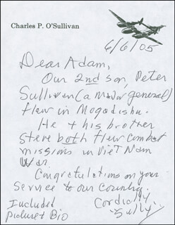 COLONEL CHARLES P. O'SULLIVAN - AUTOGRAPH LETTER SIGNED 06/06/2005