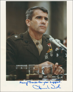 LT. COLONEL OLIVER L. NORTH - AUTOGRAPHED SIGNED PHOTOGRAPH