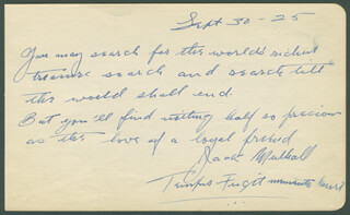 JACK MULHALL - AUTOGRAPH POEM SIGNED 09/30/1925 CO-SIGNED BY: MARGARET MORRIS