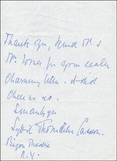 DAME SYBIL THORNDIKE - AUTOGRAPH LETTER SIGNED CIRCA 1957
