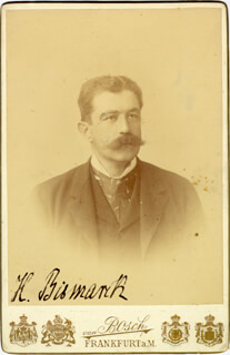 Autographs: PRINCE HERBERT VON BISMARK (GERMANY) - PHOTOGRAPH SIGNED