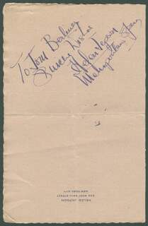 HELEN JEPSON - AUTOGRAPH NOTE SIGNED