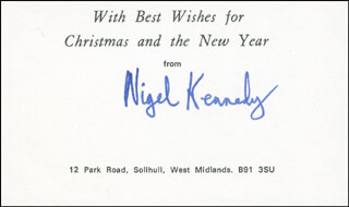 NIGEL KENNEDY - CHRISTMAS / HOLIDAY CARD SIGNED