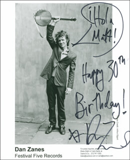 DAN ZANES - AUTOGRAPHED INSCRIBED PHOTOGRAPH