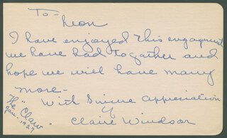 CLAIRE WINDSOR - AUTOGRAPH NOTE SIGNED 1/1927