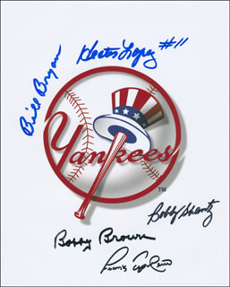 THE NEW YORK YANKEES - AUTOGRAPHED SIGNED PHOTOGRAPH CO-SIGNED BY: HECTOR LOPEZ, FRANK TEPEDINO, BOBBY SHANTZ, BILLY BRYAN, BOBBY BROWN