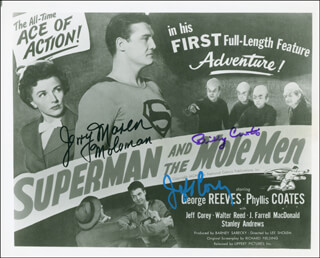 SUPERMAN AND THE MOLE MEN MOVIE CAST - AUTOGRAPHED SIGNED PHOTOGRAPH CO-SIGNED BY: JERRY MAREN, JEFF COREY, BILLY CURTIS