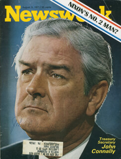 JOHN B. CONNALLY JR. - MAGAZINE COVER SIGNED