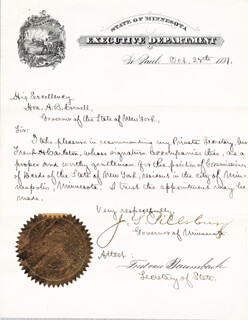 JOHN S. PILLSBURY - MANUSCRIPT LETTER SIGNED 10/28/1881 CO-SIGNED BY: FRED VON BAUMBACH