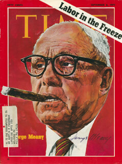 GEORGE MEANY - MAGAZINE COVER SIGNED