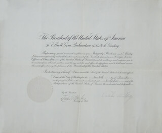Autographs: PRESIDENT CALVIN COOLIDGE - DIPLOMATIC APPOINTMENT SIGNED 12/20/1924 CO-SIGNED BY: CHIEF JUSTICE CHARLES E HUGHES