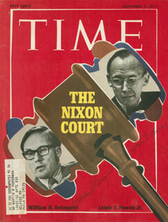 CHIEF JUSTICE WILLIAM H. REHNQUIST - MAGAZINE COVER SIGNED CO-SIGNED BY: ASSOCIATE JUSTICE LEWIS F. POWELL JR.