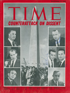 WALTER CRONKITE - MAGAZINE COVER SIGNED CO-SIGNED BY: DAVID BRINKLEY, CHET HUNTLEY