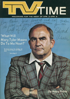 ED ASNER - INSCRIBED MAGAZINE COVER SIGNED