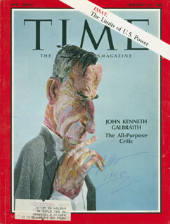 Autographs: JOHN KENNETH GALBRAITH - MAGAZINE COVER SIGNED 1968