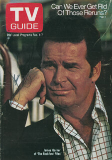 JAMES GARNER - MAGAZINE COVER SIGNED