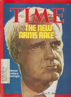 JAMES R. SCHLESINGER - MAGAZINE COVER SIGNED