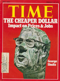 GEORGE P. SHULTZ - MAGAZINE COVER SIGNED