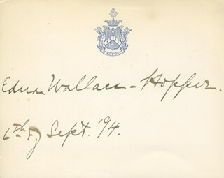 EDNA WALLACE HOPPER - PRINTED CARD SIGNED IN INK 09/04/1894