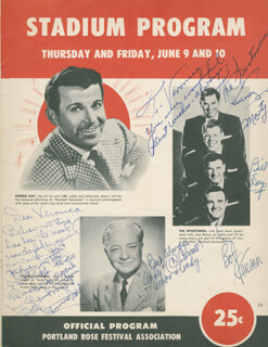 CHARLES ANDY CORRELL - INSCRIBED PROGRAM SIGNED CIRCA 1955 CO-SIGNED BY: DENNIS DAY, THE SPORTSMEN QUARTET, THE SPORTSMEN (BILL DAYS), THE SPORTSMEN (MARTY SPERZEL), THE SPORTSMEN (GURNEY BELL), THE SPORTSMEN (BOB GARSEN), MILTON W. RICE