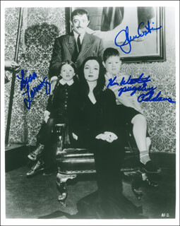 THE ADDAMS FAMILY TV CAST - AUTOGRAPHED SIGNED PHOTOGRAPH CO-SIGNED BY: JOHN ASTIN, LISA LORING, KEN WEATHERWAX