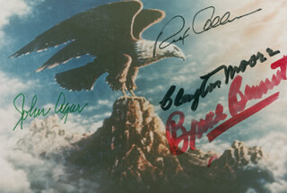 REPUBLIC PICTURES - AUTOGRAPHED SIGNED PHOTOGRAPH CO-SIGNED BY: CLAYTON THE LONE RANGER MOORE, JOHN AGAR, BRUCE (HERMAN BRIX) BENNETT, REX ALLEN