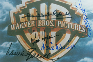 WARNER BROTHERS PICTURES - AUTOGRAPHED SIGNED PHOTOGRAPH CO-SIGNED BY: MARIE WINDSOR, LAUREN BACALL, JANE POWELL, GILBERT ROLAND, LEW AYRES