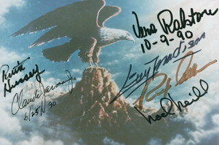 REPUBLIC PICTURES - AUTOGRAPHED SIGNED PHOTOGRAPH CIRCA 1990 CO-SIGNED BY: GUY MADISON, NOEL NEILL, VERA H. RALSTON, RUTH HUSSEY, REX ALLEN, CLAUDE JARMAN JR.