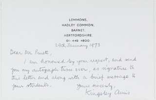 KINGSLEY AMIS - AUTOGRAPH LETTER SIGNED 01/29/1973