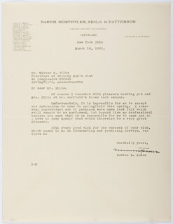 Autographs: NEWTON D. BAKER - TYPED LETTER SIGNED 03/16/1932
