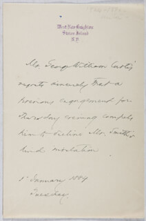 GEORGE WILLIAM CURTIS - THIRD PERSON AUTOGRAPH LETTER 01/01/1884