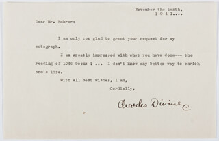 Autographs: CHARLES DIVINE - TYPED LETTER SIGNED 11/10/1941