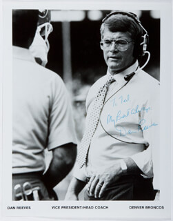 DAN REEVES - INSCRIBED PRINTED PHOTOGRAPH SIGNED IN INK