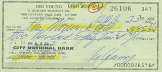 GIG YOUNG - AUTOGRAPHED SIGNED CHECK 06/02/1973