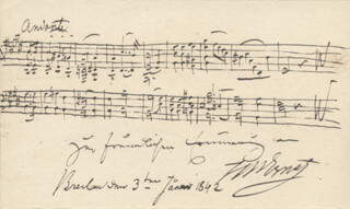 HEINRICH W. ERNST - AUTOGRAPH MUSICAL QUOTATION SIGNED 01/03/1842
