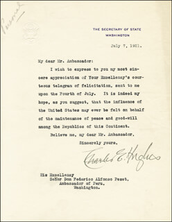 CHIEF JUSTICE CHARLES E HUGHES - TYPED LETTER SIGNED 07/07/1921