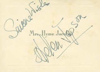 HELEN JEPSON - AUTOGRAPH SENTIMENT ON CALLING CARD SIGNED