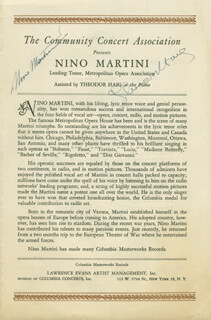 NINO MARTINI - PROGRAM SIGNED CO-SIGNED BY: THEODOR HAIG