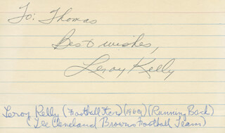 LEROY KELLY - AUTOGRAPH NOTE SIGNED