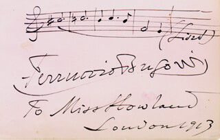 FERRUCCIO B. BUSONI - AUTOGRAPH MUSICAL QUOTATION SIGNED 1913