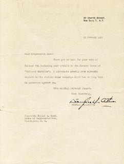 GENERAL DOUGLAS MACARTHUR - TYPED LETTER SIGNED 01/11/1952