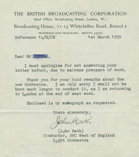 Autographs: JOHN BATH - TYPED LETTER SIGNED 03/01/1950