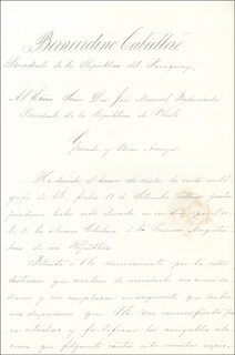 Autographs: PRESIDENT BERNARDINO CABALLERO (CHILE) - MANUSCRIPT LETTER SIGNED 11/02/1886 CO-SIGNED BY: JOSE S. DURAND