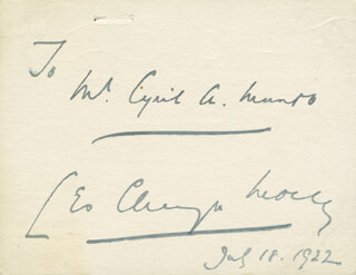LEO CHIOZZA MONEY - INSCRIBED SIGNATURE 07/18/1922