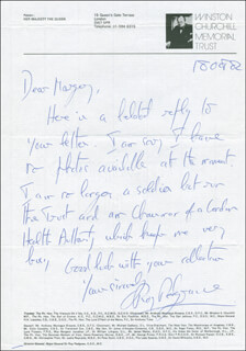 SIR ROY REDGRAVE - AUTOGRAPH LETTER SIGNED 09/18/1982