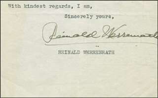 REINALD WERRENRATH - TYPED SENTIMENT SIGNED