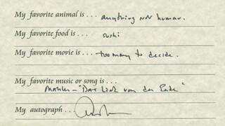 Autographs: EDWARD ALBEE - QUESTIONNAIRE SIGNED