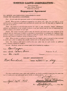 BEN TURPIN - CONTRACT SIGNED 04/26/1927