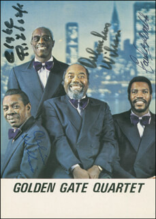 GOLDEN GATE QUARTET - PRINTED PHOTOGRAPH SIGNED IN INK CO-SIGNED BY: GOLDEN GATE QUARTET (CLYDE RIDDICK), GOLDEN GATE QUARTET (CALVIN WILLIAMS), GOLDEN GATE QUARTET (ORLANDUS WILSON), GOLDEN GATE QUARTET (PAUL BREMBLY)